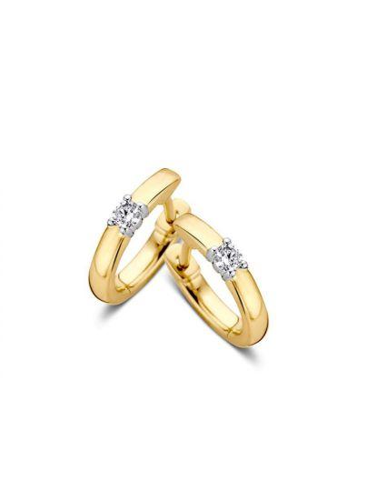 14kt. Bicolor gouden creolen met diamant, OG416843