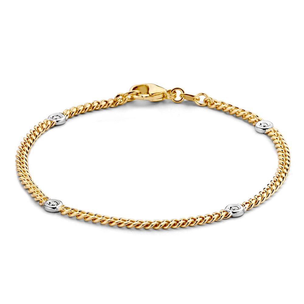 bicolor gouden gourmet armband met briljant