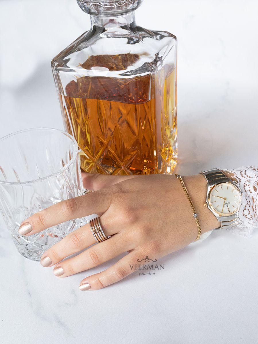 bicolor gouden gourmet armband met briljant 3