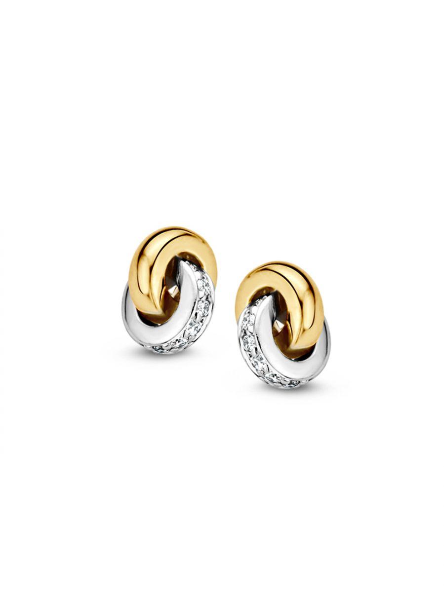bicolor gouden oorstekers met briljant 012crt
