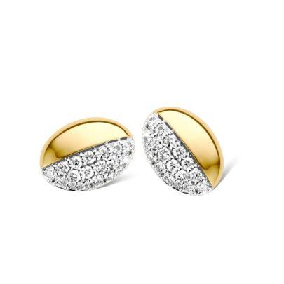 Bicolor gouden oorstekersmet briljant