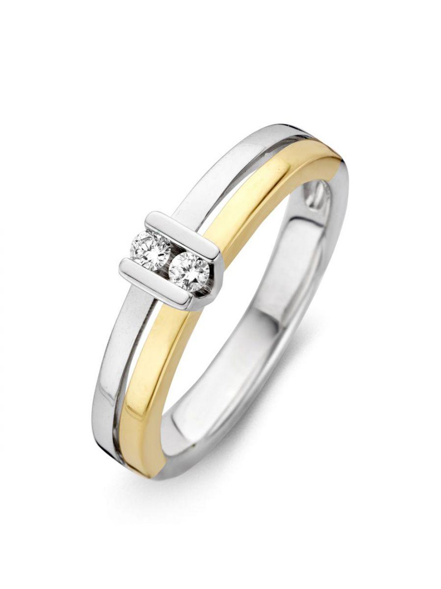 bicolor gouden ring met 2 briljanten