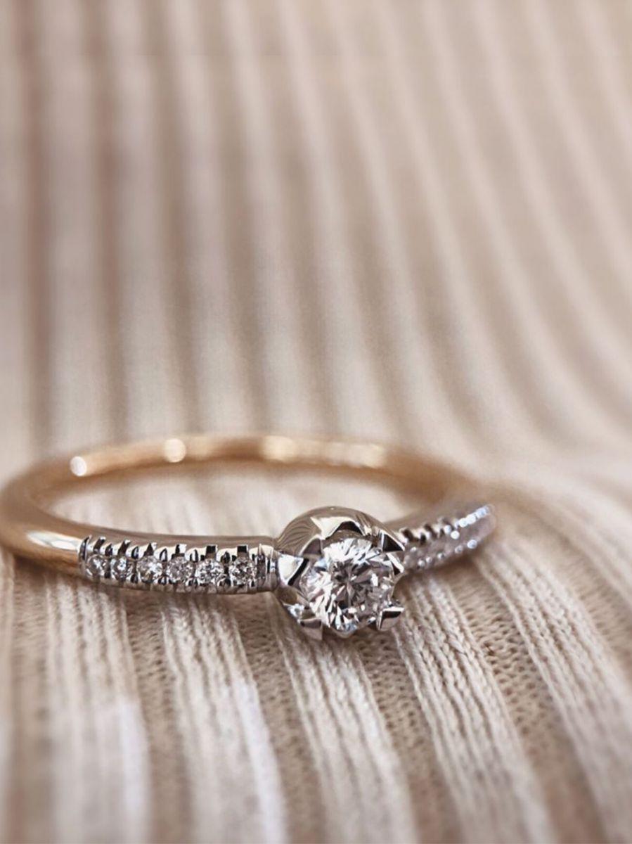 bicolor gouden ring met briljanten