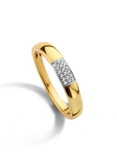Bicolor gouden ring met diamant 0,08 crt.