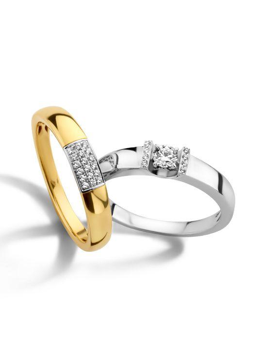 bicolor gouden ring met briljant 008 crt