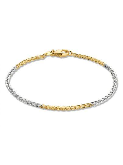 Bicolor gouden schakelarmband 19cm