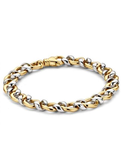 Bicolor gouden schakelarmband asymmetrisch