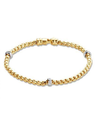 Bicolor gouden schakelarmband met briljant