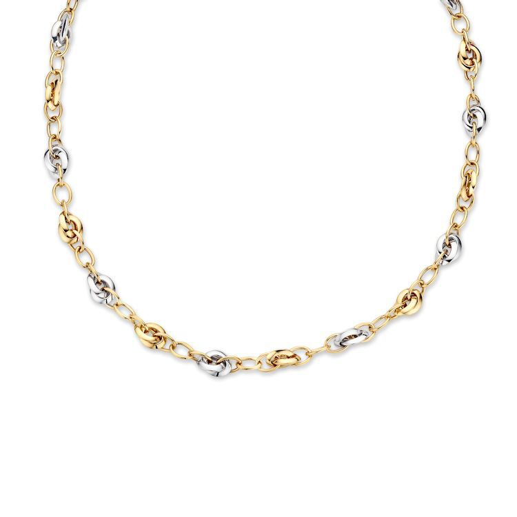 bicolor gouden schakelcollier