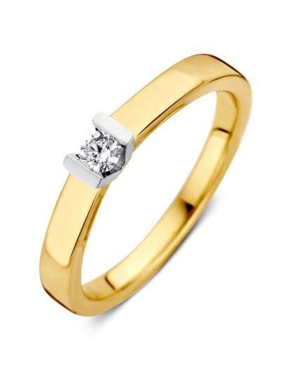 Bicolor gouden solitair ring 0.10 crt