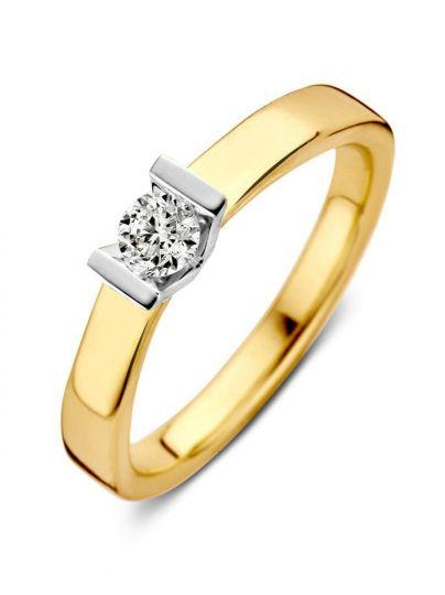 Bicolor gouden solitair ring 0.20 crt.