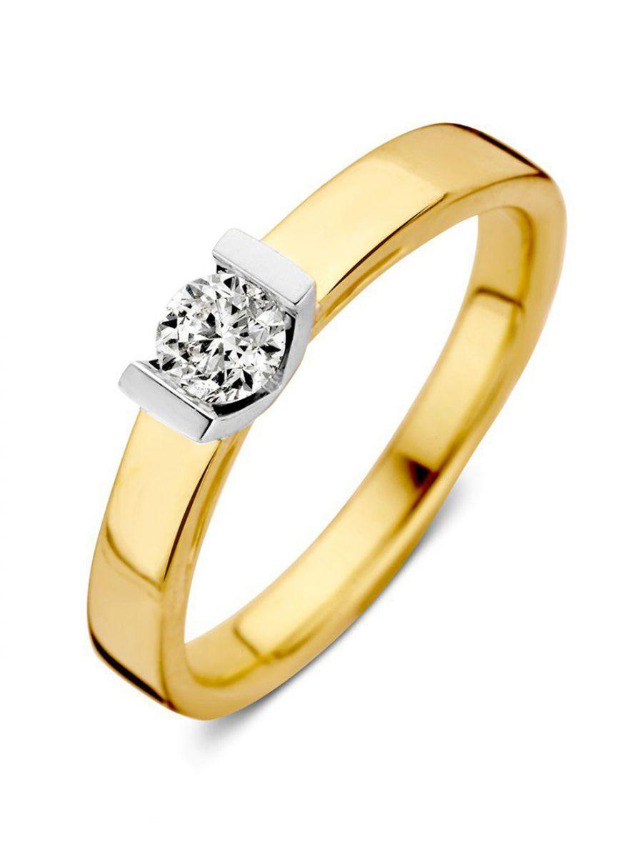 bicolor gouden solitairring030crt 1