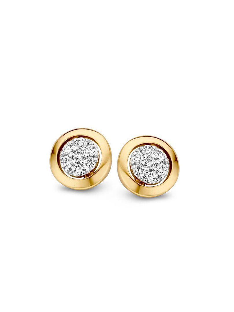 bicolor oorstekers met briljant 014crt
