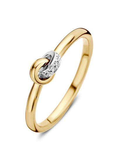 Bicolor ring met briljant 0.04 crt.