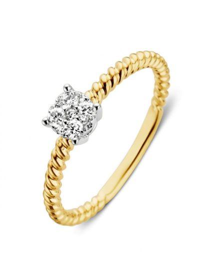 Bicolor ring met briljant 0,18crt.