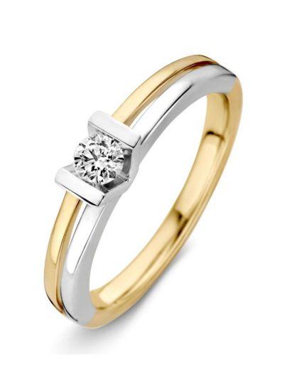 Bicolor ring met briljant 0.20 crt.