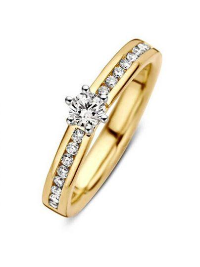 Bicolor ring met briljant 0,50crt.