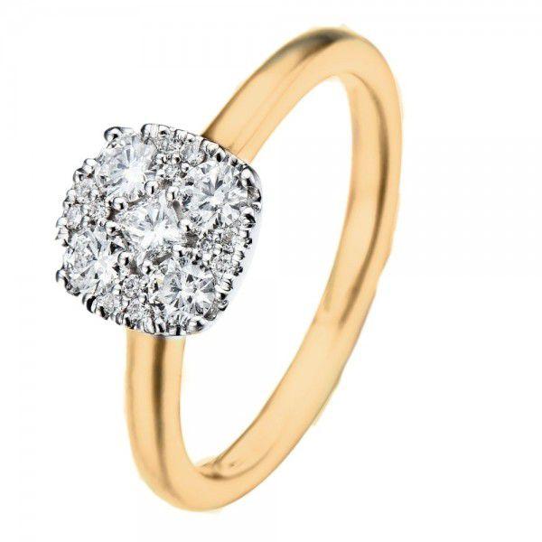 bicolor ring met diamant in invisible zetting 3