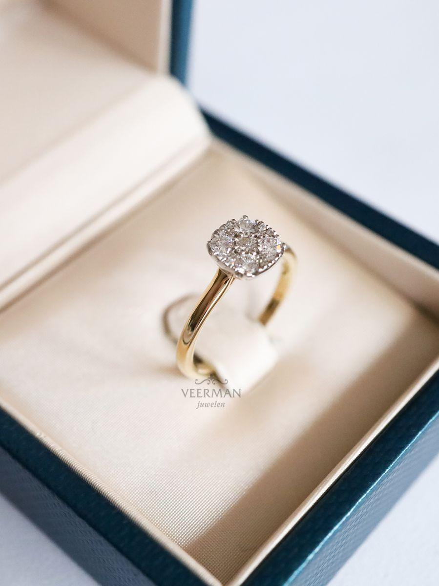 bicolor ring met diamant in invisible zetting 2