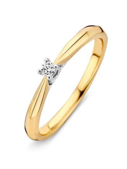 Bicolor solitair ring met briljant 0.06crt