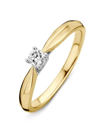 Bicolor solitair ring met briljant 0.09crt