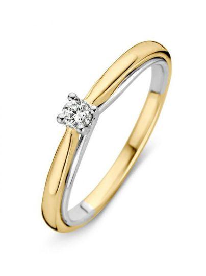 Bicolor solitair ring met briljant 0.10crt