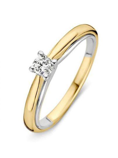 Bicolor solitair ring met briljant 0.19crt