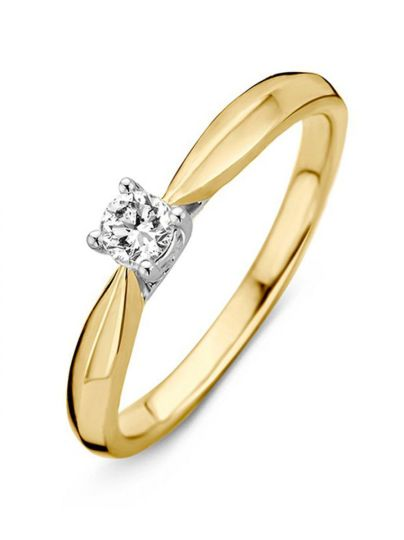 Bicolor solitair ring met briljant 0.24crt