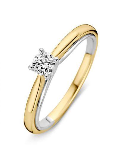 Bicolor solitair ring met briljant 0.31crt