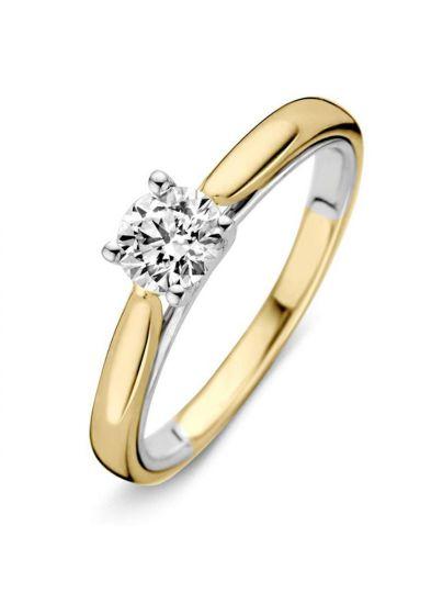 Bicolor solitair ring met briljant 0.40crt