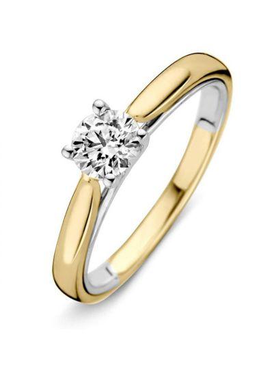 Bicolor solitair ring met briljant 0,50crt