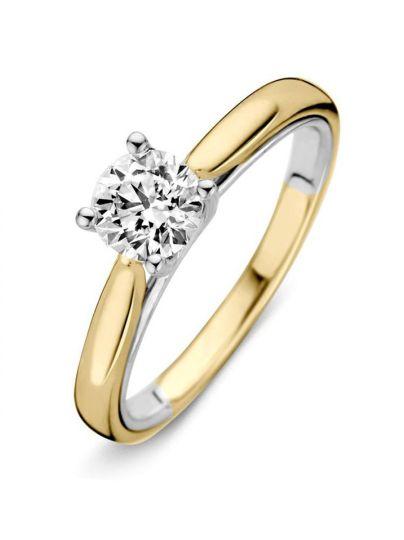 Bicolor solitair ring met briljant 0,74crt
