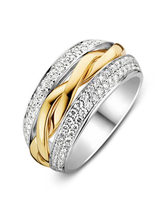 brede bicolorgouden ring met briljant 087crt