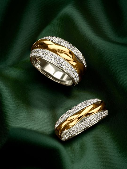 brede bicolorgouden ring met diamant 3