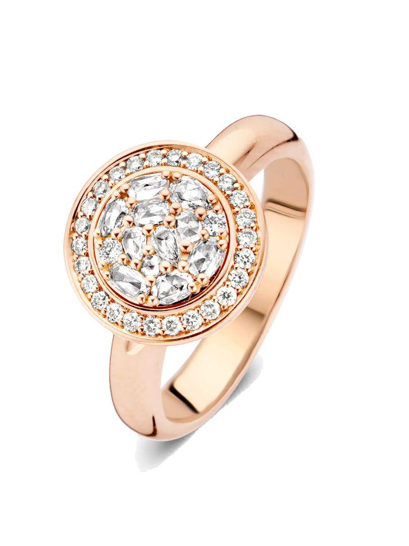 127br60r18 entourage ring met roos diamant en briljant