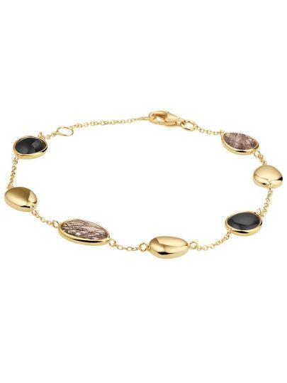 Geelgouden armband met onyx en rutiel