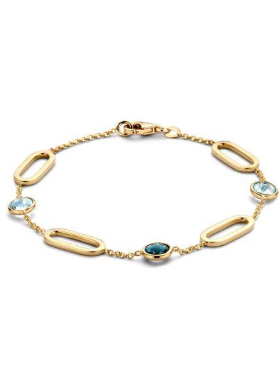 Geelgouden armband met ovale schakels en topaas