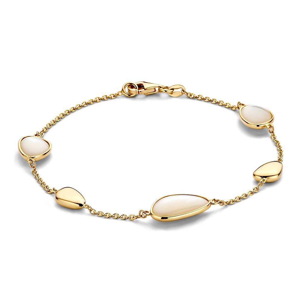 geelgouden armband met parelmoer 1