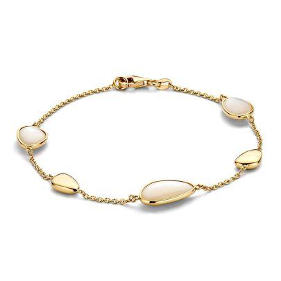 Geelgouden armband met parelmoer