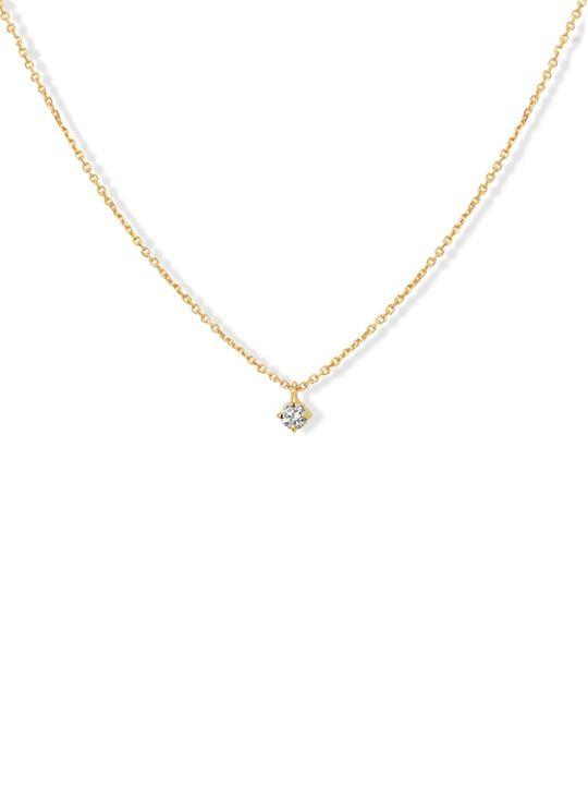 geelgouden colliermet diamant 005crt 41 43 45 cm
