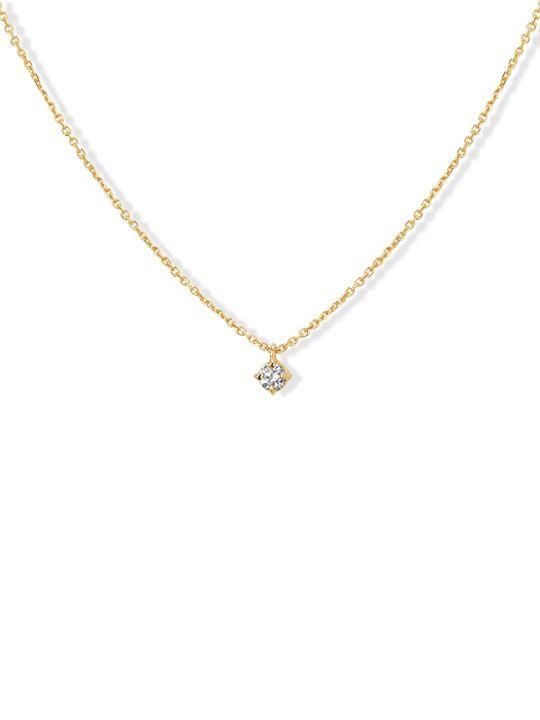 geelgouden colliermet diamant 010crt