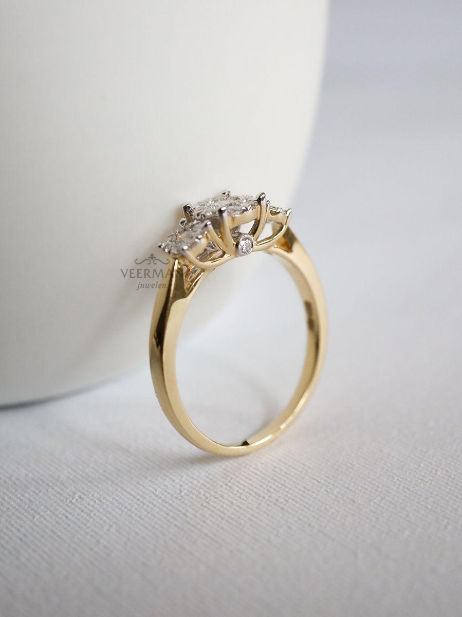 geelgouden ring met briljant 045crt 3