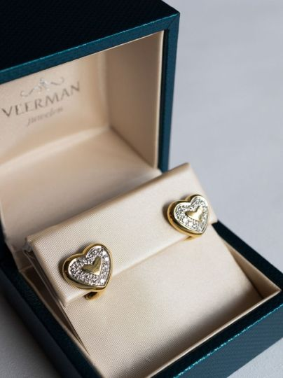 Geelgouden Oorstekers Diamant Hart