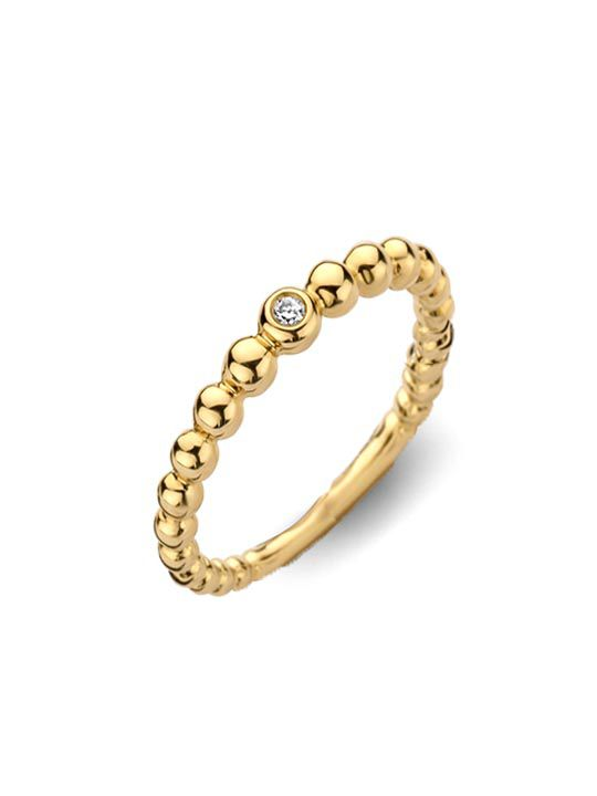 geelgouden ring met briljant 002crt 14 karaat