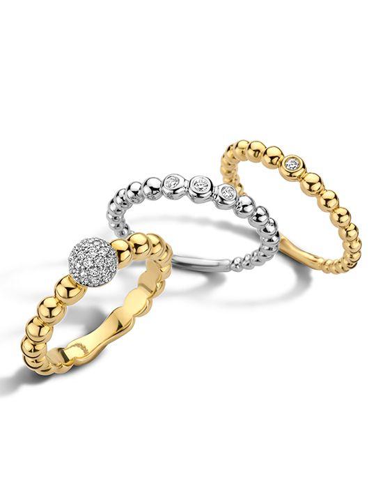 geelgouden ring met diamant 002crt 14 karaat
