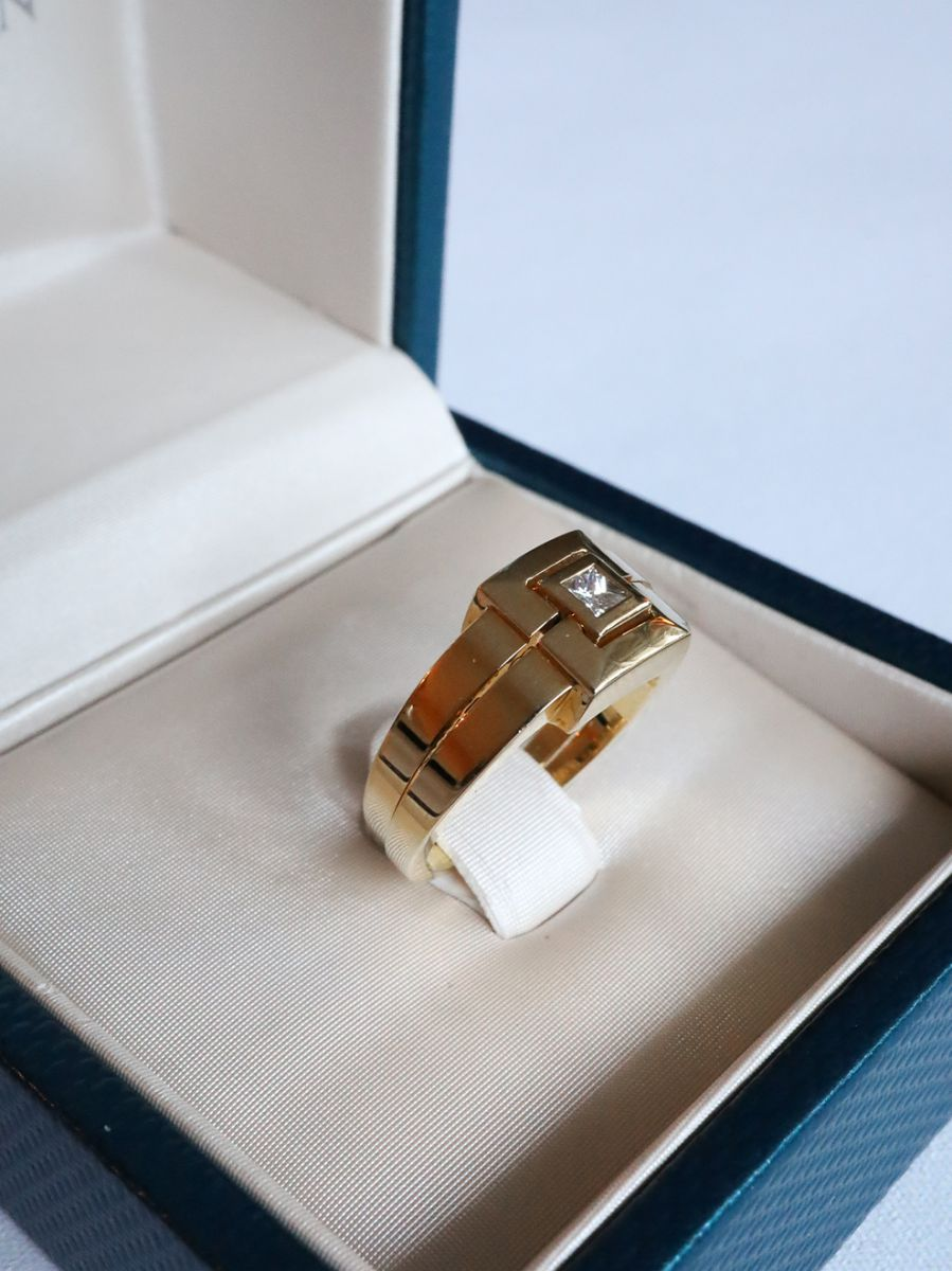 geelgouden ring car diamant