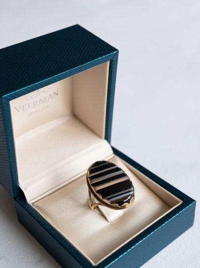 Geelgouden Ring Onyx