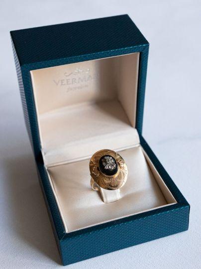 Geelgouden Ring Onyx Diamant