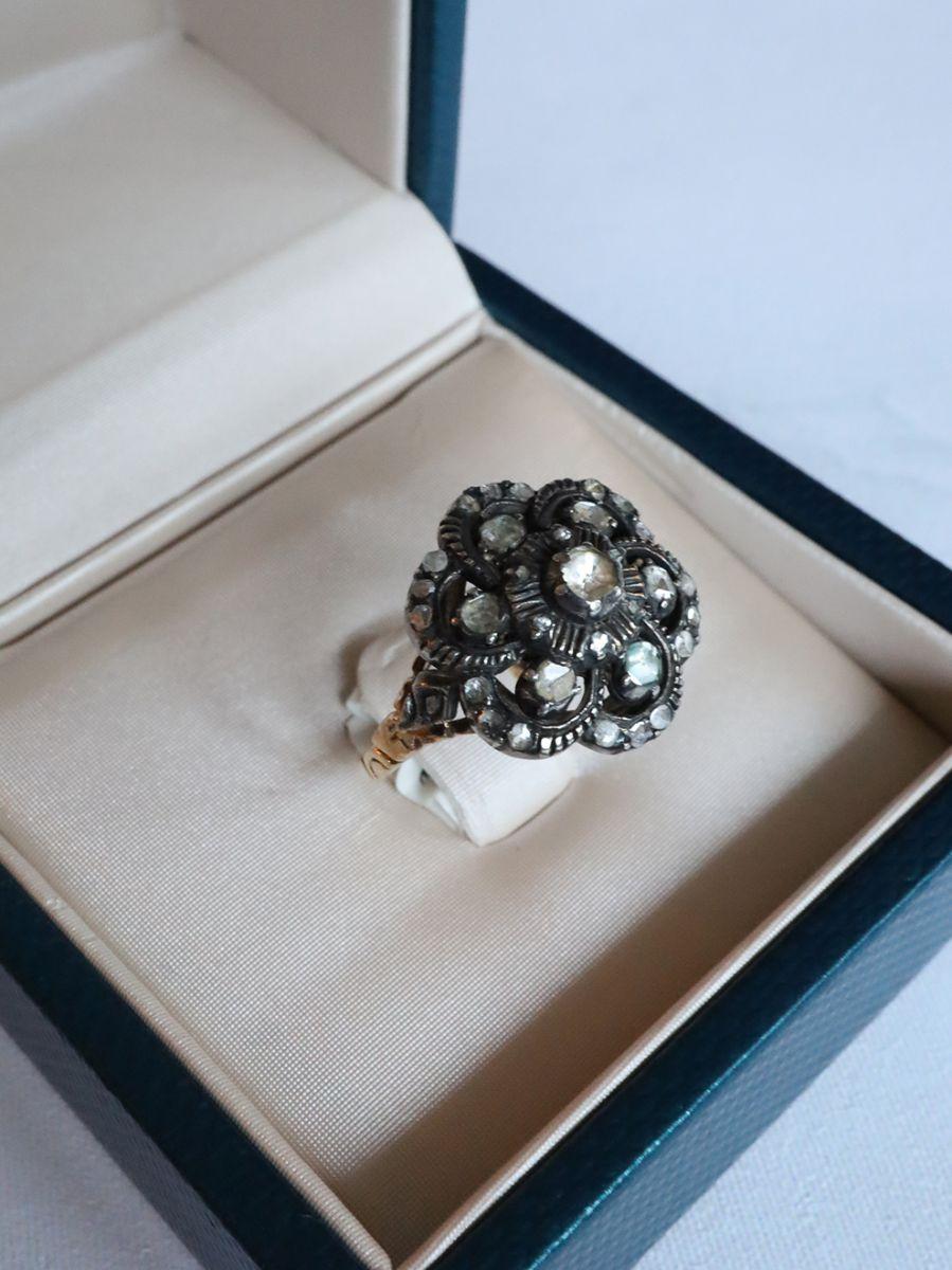 geelgouden ring oud slijpsel diamant