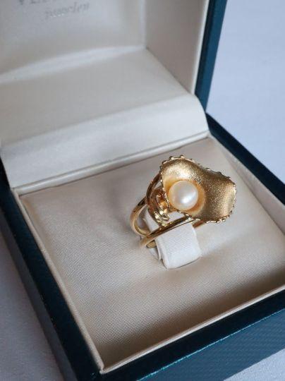 Geelgouden Ring Parel
